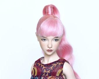 Ponytail wig for BJD Zaya Natalia Loseva Doll angora goat fiber