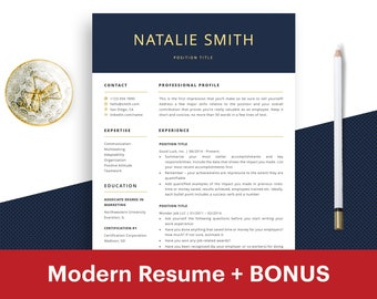 Professional Resume Template Instant Download CV Free Curriculum Vitae One Page Word ATS Modern Pages