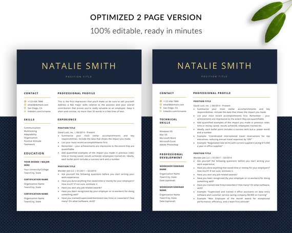 2 Pages Resume Template Free Download.Professional Resume Template Instant Download Cv Template Free Curriculum Vitae One Page Resume Word Ats Modern Resume Template Pages