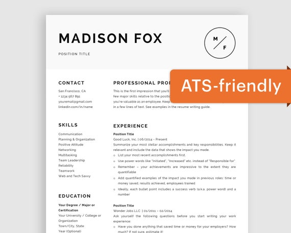 Minimal Resume Template Word | Minimal CV Template for Mac | Modern Resume  Template Pages | Curriculum Vitae Template Free | ATS-Friendly