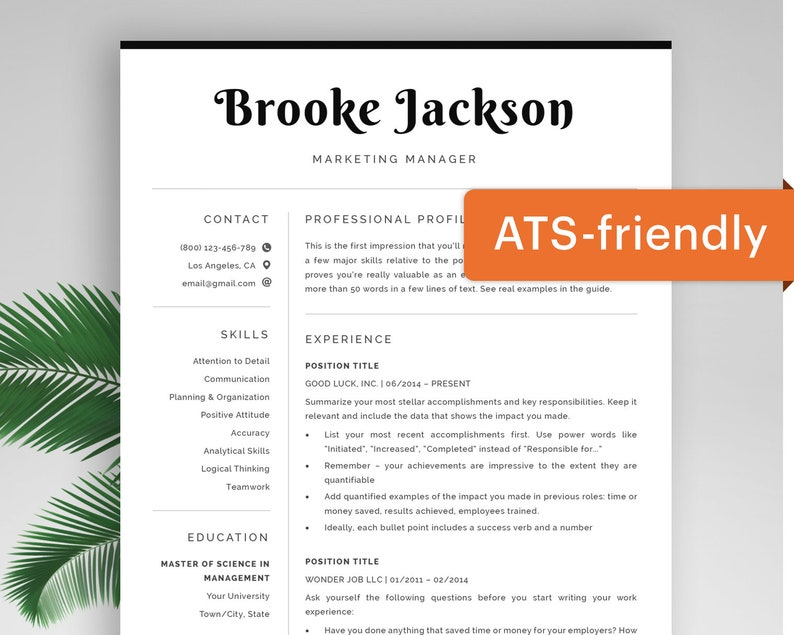 Ats Friendly Resume Template Instant Download For Mac Word Curriculum Vitae Template Modern Cv Template Free Professional Resume Pages