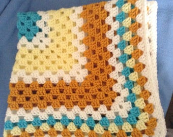"Endless Granny Square 36""x 36"" Crochet Blanket"