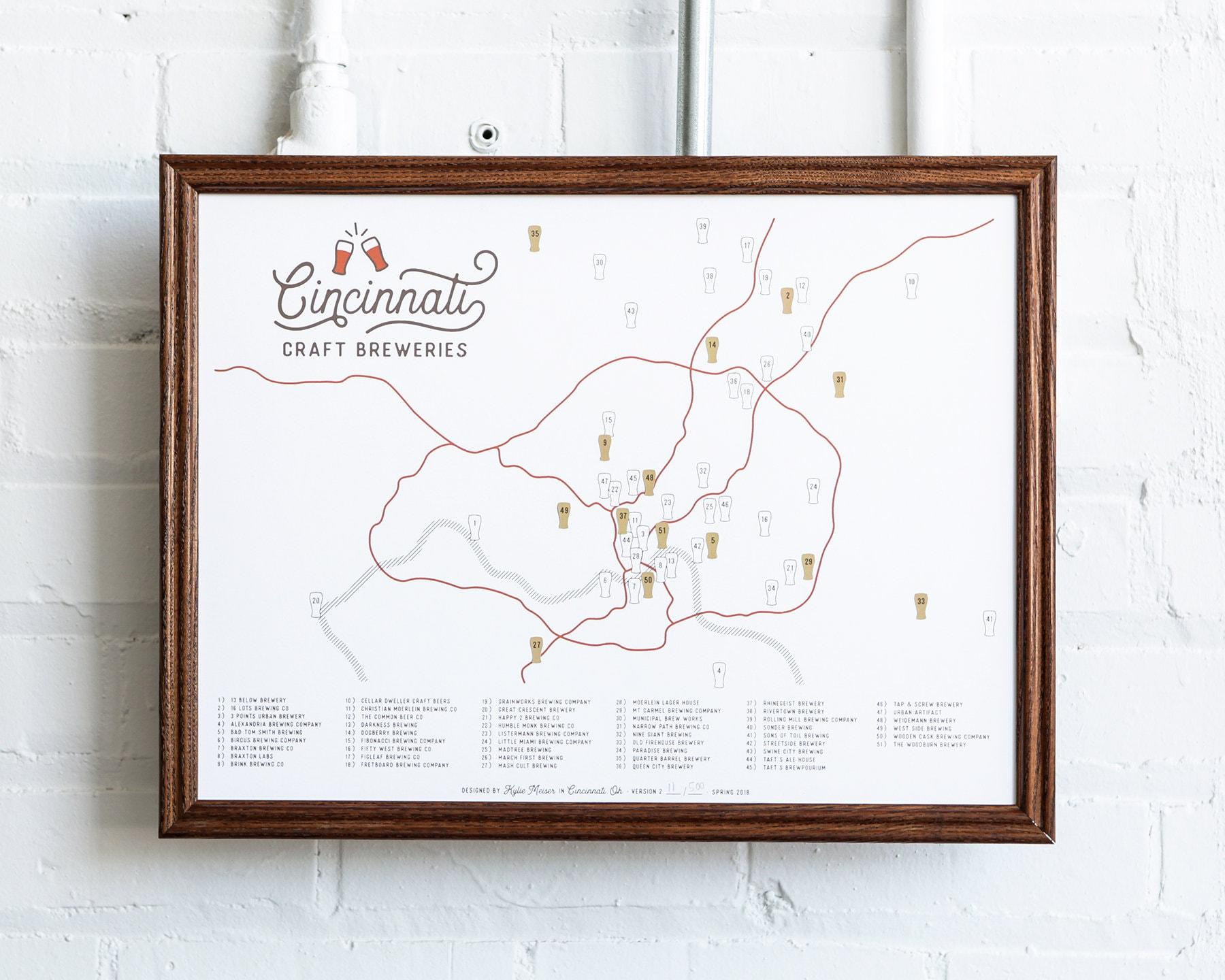 Cincinnati Craft Breweries Sticker Map / VERSION 2   Etsy on