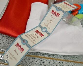 Menu ride tickets, circus, Carnival theme