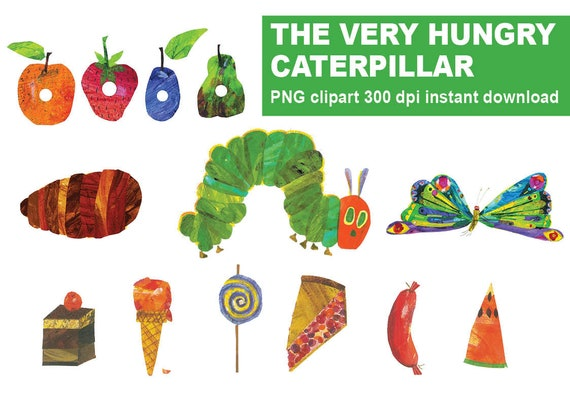 Instand Dl The Very Hungry Caterpillar Cliparts Party Favors Etsy
