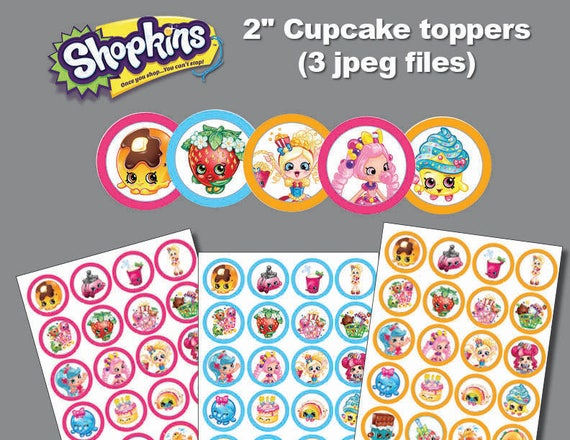 Instand Dl Shopkins Cupcake Toppers 2 Inch Sticker For Etsy