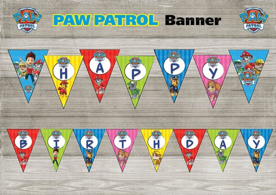 Printable Paw Patrol Happy Birthday Banner Flags Bunting