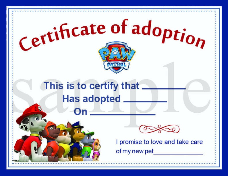 Paw Patrol Adoption Certificate Printable Digital Etsy