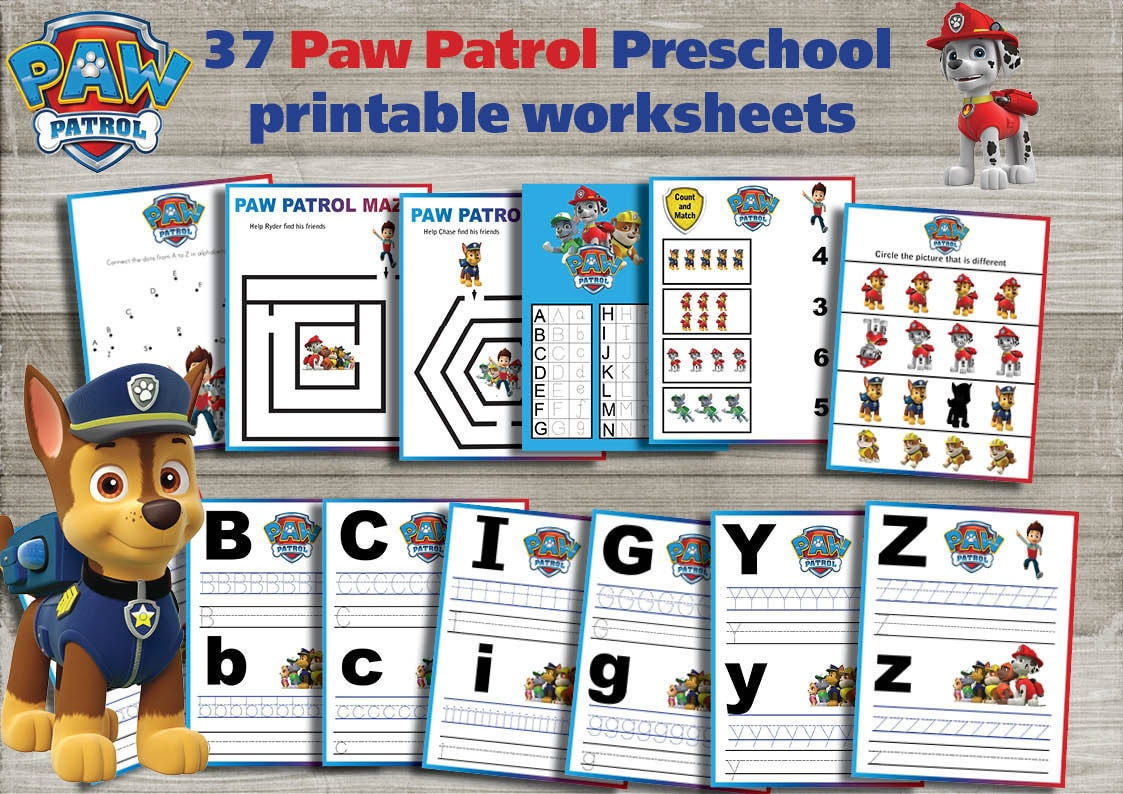 Paw Patrol Preschool printable worksheets package Learning | Etsy