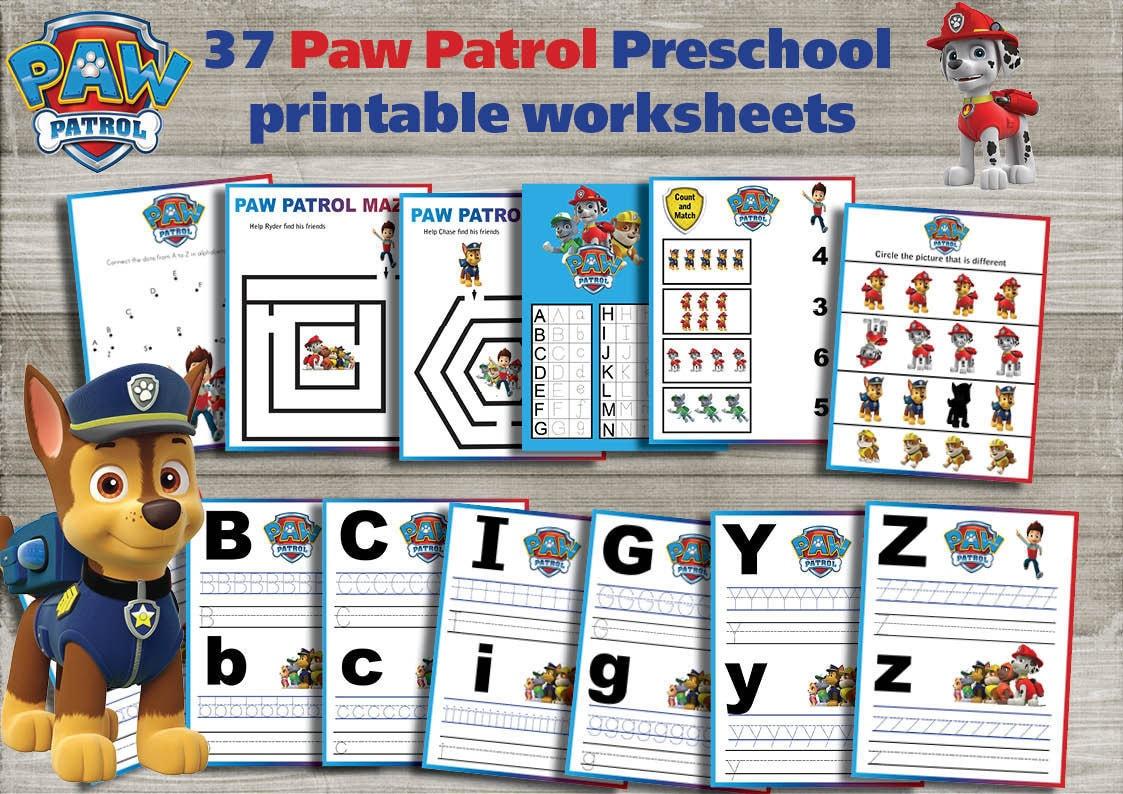 Paw Patrol Preschool printable worksheets package Learning | Etsy