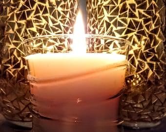Yule Candle in Swirl Glass