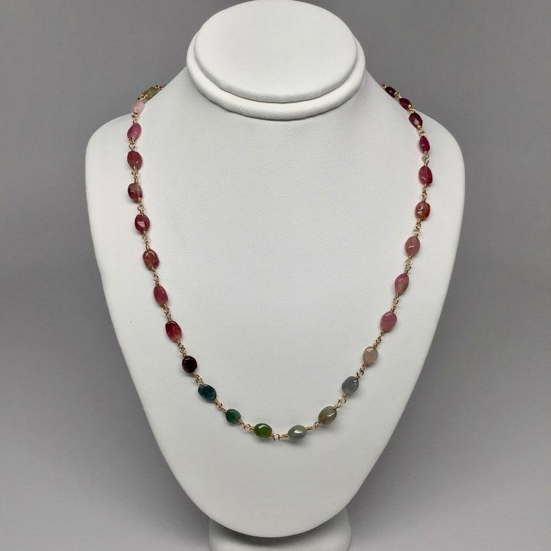 Rock Lobster Designs Rainbow Tourmaline Gemstone Wire Wrapped Necklace