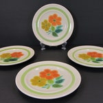 4 Franciscan Earthenware Floral Bread and Butter Plates 1970 Very Nice Condition