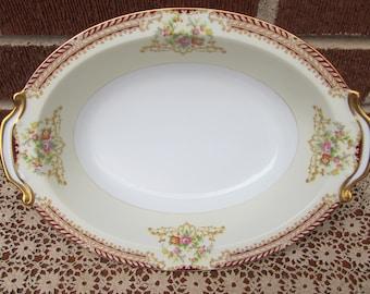 Noritake Oval Vegetable Serving Bowl Pattern Unknown Gold Trim Estate Find EUC
