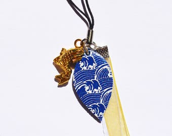 Accessory - Keychain - jewelry laptop Fimo Japanese motif and gold and white ribbons