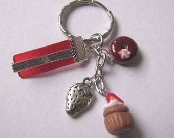 Key cupcake and donut polymer clay red Strawberry