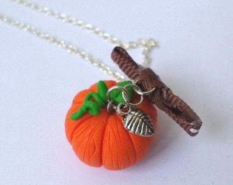 Necklace Pumpkin orange and green Halloween Fimo