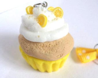 Cupcake lemon polymer clay necklace and bow yellow