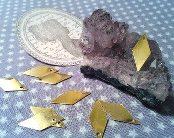 Set of 50 diamond sequins gold 17 x 8 mm