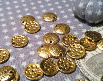 x 20 charms/sequins round and flat brass colored antique gold