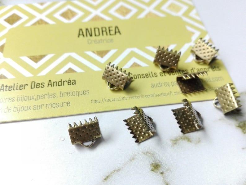 Set of 20 bronze Ribbon end caps \u2606  pinch  8 x 6 mm  2 mm\u2606 hole