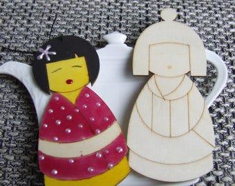1 wooden support Geisha doll blank 10,5 x 4,5 cm