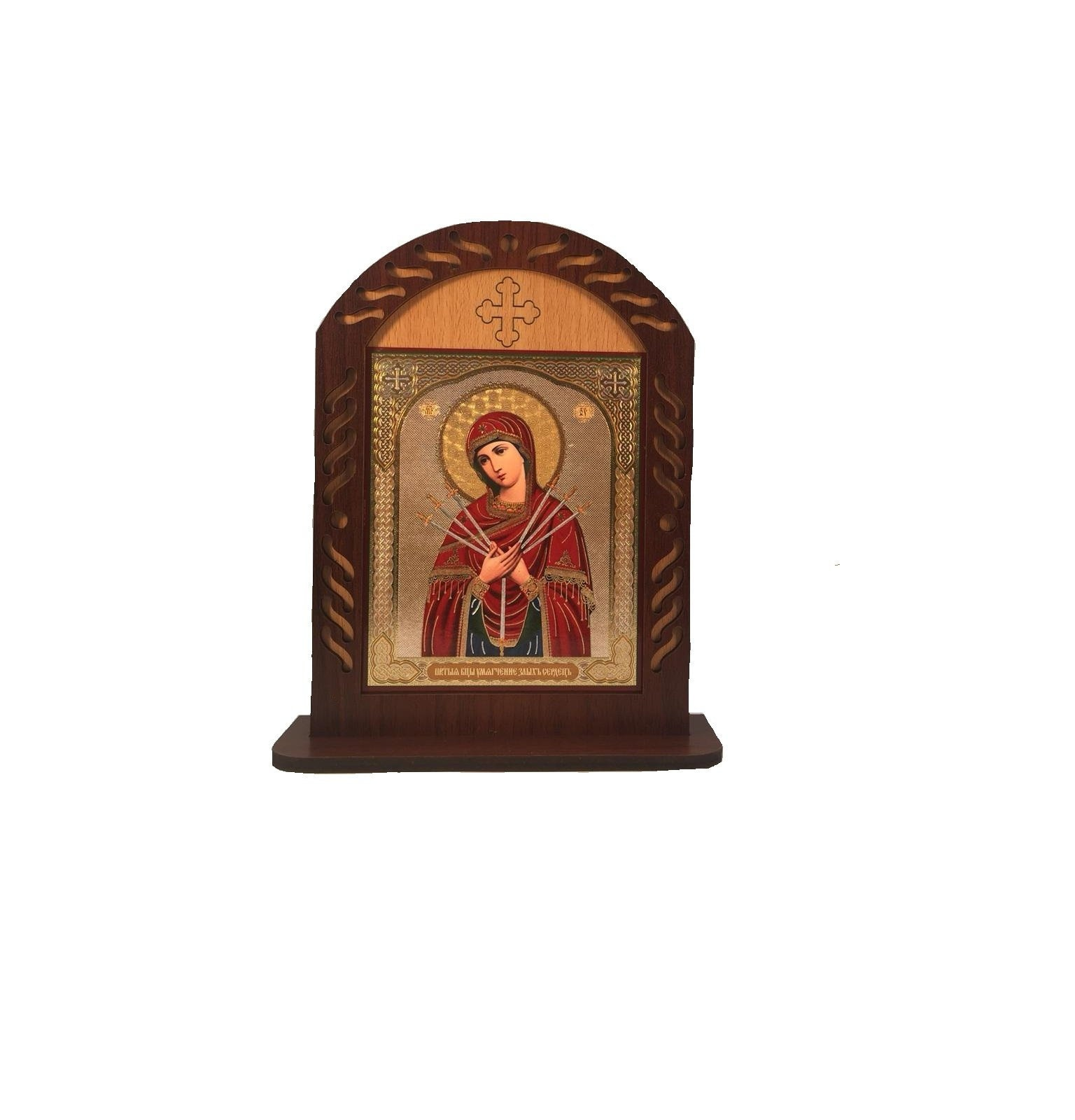 wooden frame with a Russian icon of Virgin Mary and child Jesus and ...
