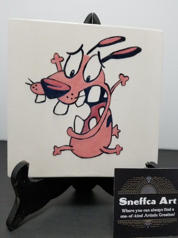 Courage The Cowardly Dog Hand Painted 6x6 Tile Etsy