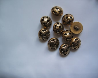 """Set of 2 """"Couture"""" woven gold metal buttons"""