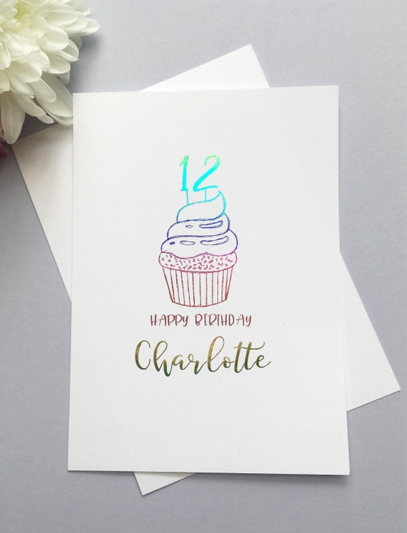 Personalised Age Happy Birthday Cupcake Card Foiled 12th