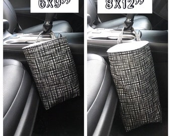 Car organizer auto trash bag car accessories black and white with waterproof liner