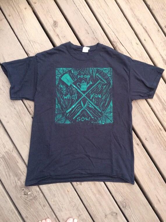 e7138300a Reap what you sow linoleum block print gardener's crest | Etsy
