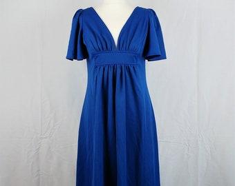Vintage 1970s C&A Blue Disco Goddess Maxi Dress