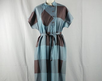 3fe4d992644b Vintage 1970 80s Merry Finn Finnish Turquoise   Brown Check Print Cotton  Shirt Dress