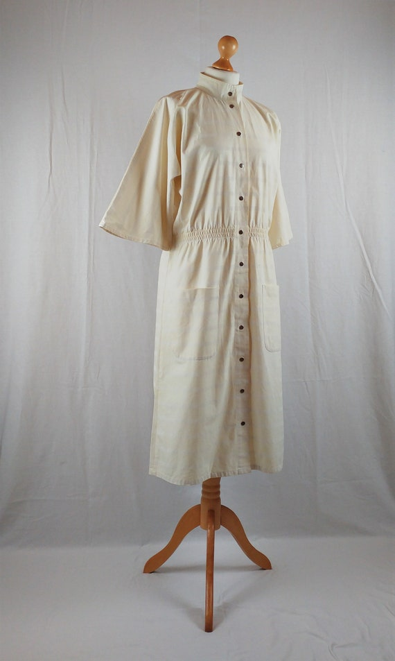Vintage Vuokko 1970s Cream Striped Kimono Sleeve M
