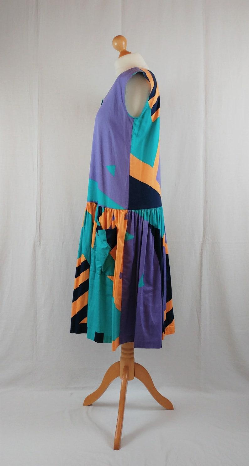 Vintage 1980s Fenno Sport Geometric Print Cap Sleeve Midi Dress