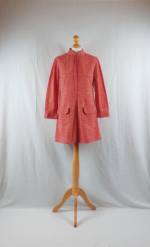 Vintage Vuokko 1960s Red Geometric Mod Tunic
