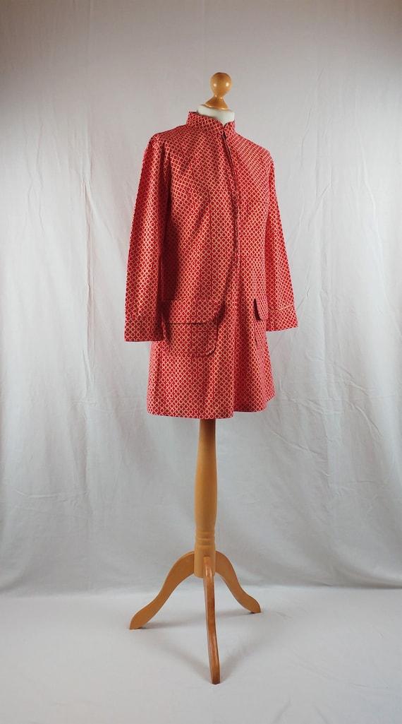 Vintage Vuokko 1960s Red Geometric Mod Tunic - image 4