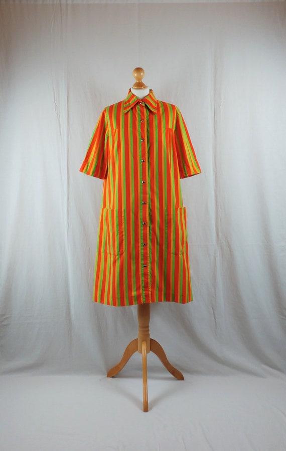 Vintage 1960s Vuokko Bright Striped Cotton Print M
