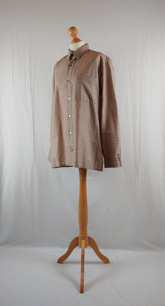 Vintage Vuokko 1970s Beige & White Striped Button… - image 5