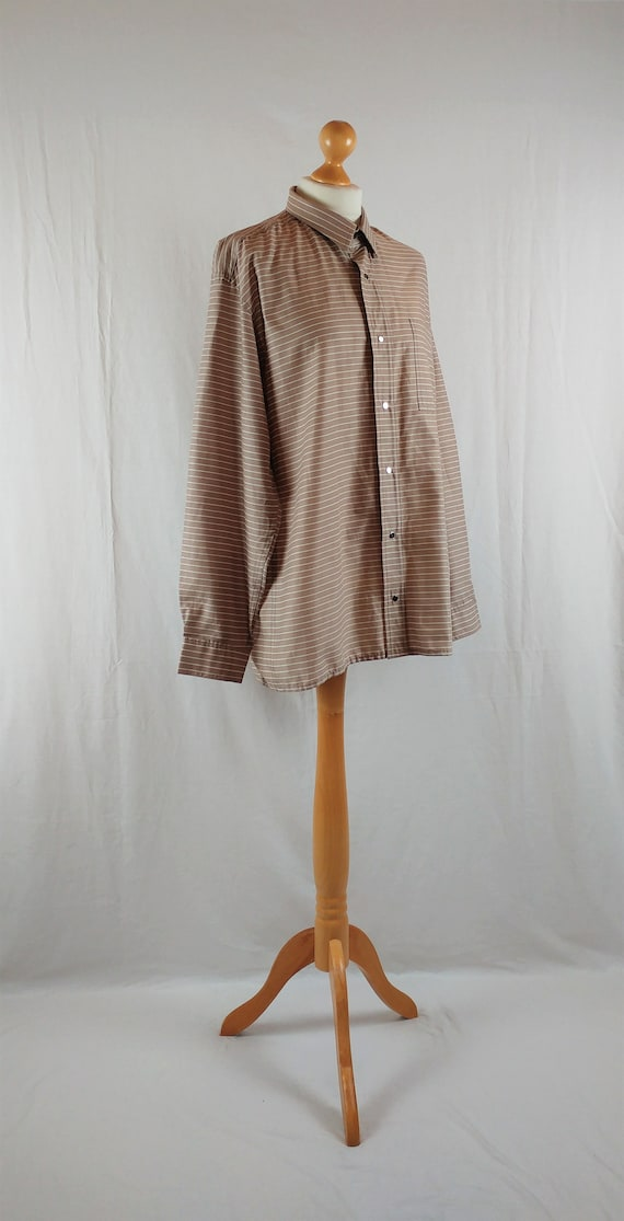 Vintage Vuokko 1970s Beige & White Striped Button