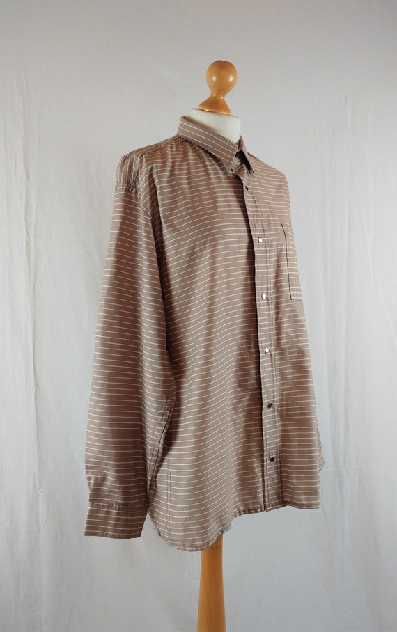 Vintage Vuokko 1970s Beige & White Striped Button… - image 2