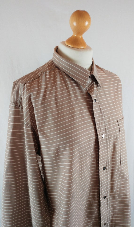Vintage Vuokko 1970s Beige & White Striped Button… - image 3