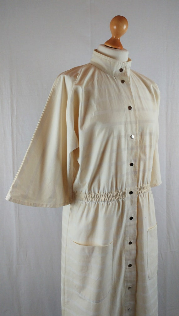 Vintage Vuokko 1970s Cream Striped Kimono Sleeve … - image 2