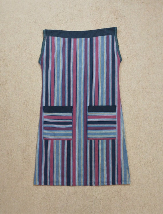 Vintage Canda 1980s Striped Tabard Dress