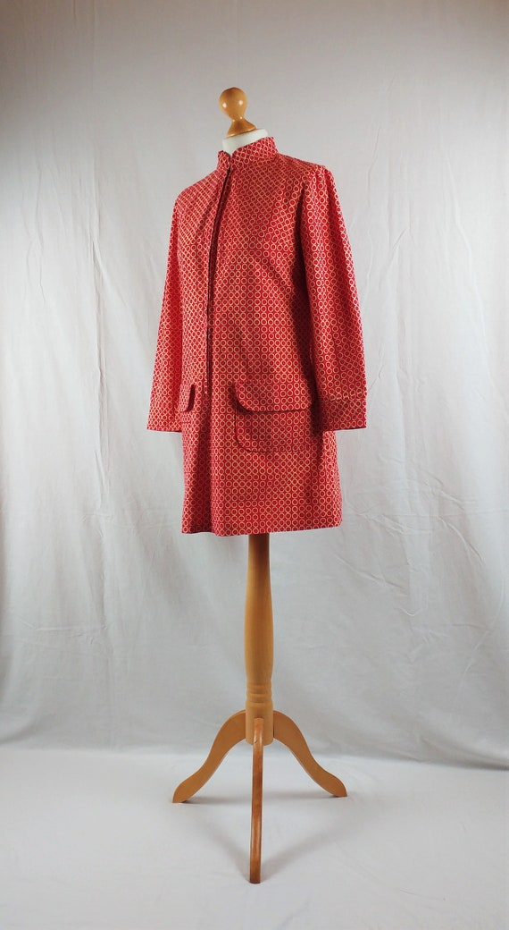 Vintage Vuokko 1960s Red Geometric Mod Tunic - image 3