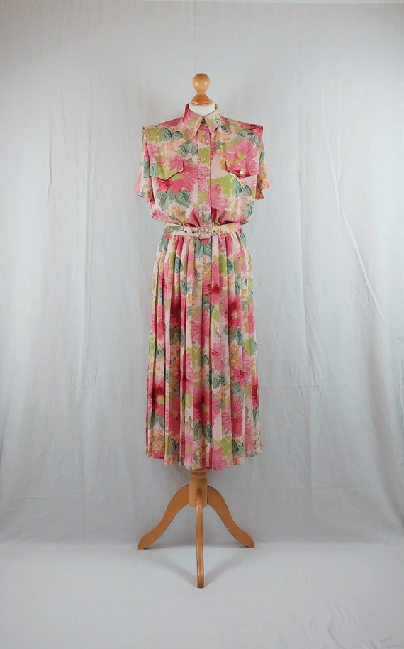 Vintage Leslie Fay 1980s Pastel Floral Day Dress