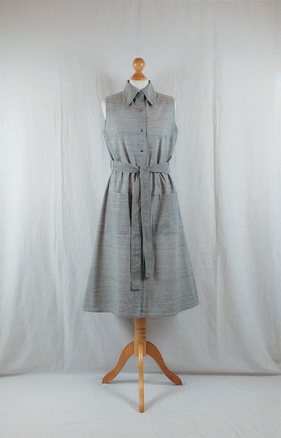 Vintage Vuokko 1970s Grey & Navy Striped Sundress