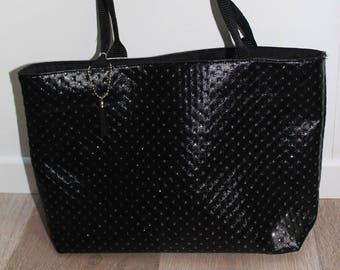 Chic black faux leather handbag
