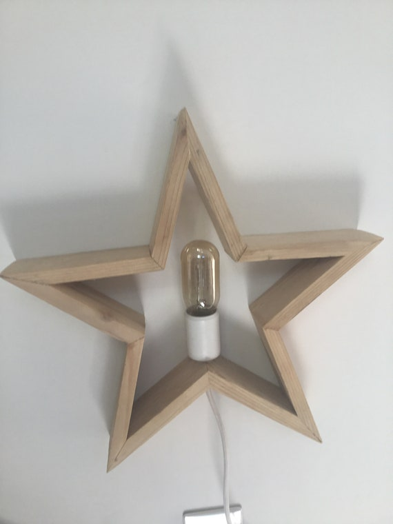 Lampe Etoile Bois Etoile Luminaire En Bois Applique Etoile Etsy